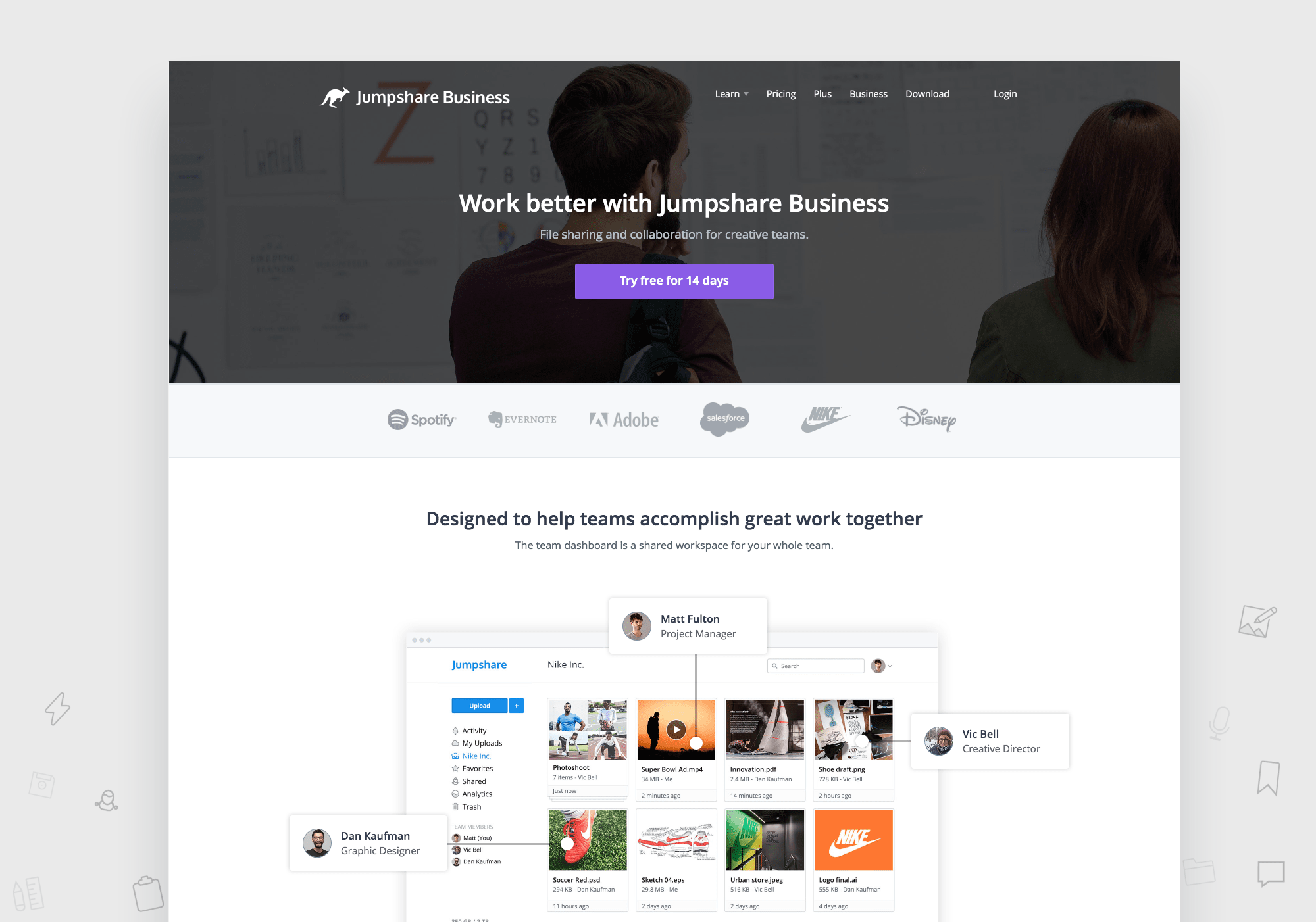 Jumpshare Business Homepage